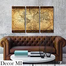 amazon com decor mi vintage world map canvas wall art prints