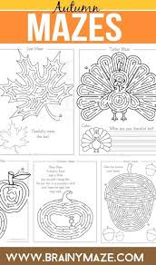 free fall mazes activity pages for turkey maze and writing