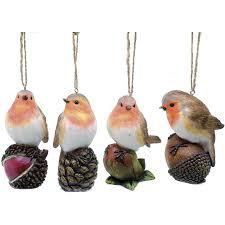 set of 4 robin christmas tree ornaments christmas robins