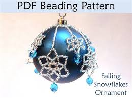 falling snowflakes beaded ornament pdf beading pattern interweave