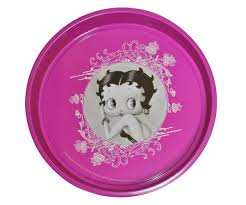 deco pin up plateau à café rond métal deco chic pin up portrait betty boop
