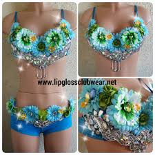 edc rave rave wearflower bra costume bling bra edm
