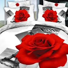 Eiffel Tower Bedding 3d Black Red Rose At Eiffel Tower Bedding Duvet Life