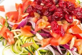 zucchini noodle salad with honey dijon mustard dressing recipe on