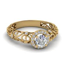 gold diamond rings dome filigree halo vintage diamond engagement ring in 14k