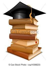 graduation books big stack of books with graduation cap vectors search clip