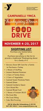 thanksgiving dinner food drive canelli ymca