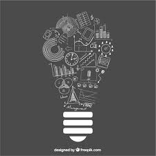 lightbulb idea with doodle business icons vector free