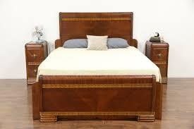 Art Deco Waterfall Nightstand Sold Art Deco Waterfall Bedroom Set 1935 Vintage Queen Size Bed