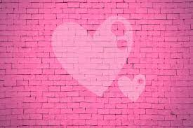 valentine brick backdrop pink brick wall with heart shape