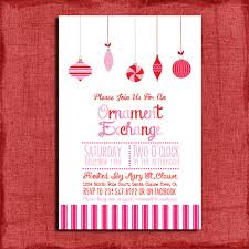 printable pink ornament exchange invitation diy
