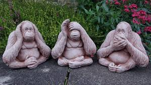 monkeys speak see hear no evil cast garden ornament