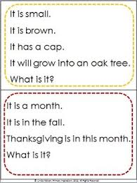 autumn riddles inference key details and vocabulary tpt