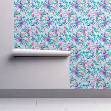 tiffany blue and purple spring floral wallpaper by micklyn