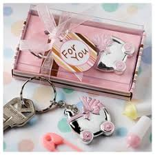 baby keychain baby carriage design key chains pink or blue