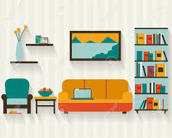 living room with furniture and long shadows flat style vector