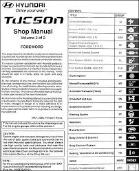 2005 hyundai tucson repair manual 2007 hyundai tucson repair shop manual 2 volume set original