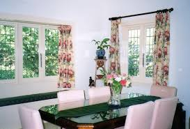 charming curtain ideas for dining room with oval white table and