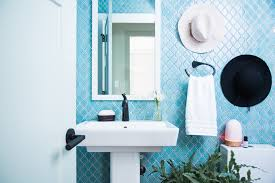 Teal Powder Room Craftsman Style Bungalow Kohler