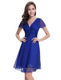 blue dress royal blue chiffon v neck knee length bridesmaid dress with beading
