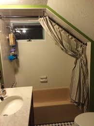 completed curtain rod with opened curtain attic bathroom shower completed curtain rod with opened curtain