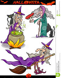 halloween cartoon spooky themes set royalty free stock images