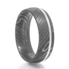 damascus steel wedding band men s nimbus damascus steel sterling silver ring
