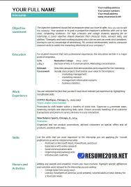 Internship Resume Template Microsoft Word Internship Resume Examples 2018 Resume 2018
