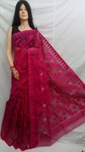 dhakai jamdani cotton festive wear pink dhakai jamdani saree rs 1600