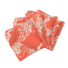 coral home decor peacocks roses coral chinoiserie dinner napkins by marcador
