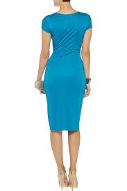 issa wrap effect silk jersey dress in blue lyst