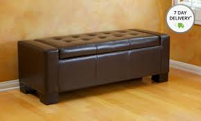 Leather Bench Ottoman by Tufted Leather Storage Bench Ottoman Groupon
