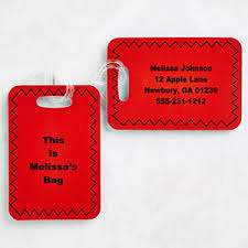 personalized luggage tag set with custom text