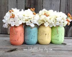Mason Jar Vases Wedding Painted Mason Jars Vase Vintage Looking Painted Mason Jars