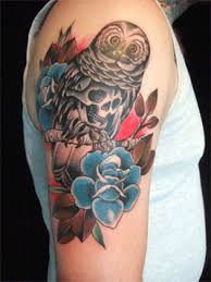 owl skull and rose tattoo by bugsy tattoonow