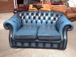 blue chesterfield sofa lovely original vintage blue chesterfield 2 seater sofa 2 of 2