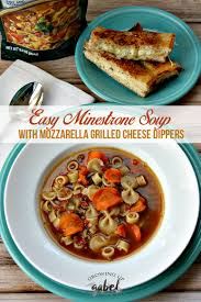 easy minestrone soup with mozzarella grilled cheese dippers