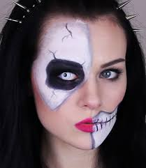leopard halloween makeup ideas skeleton half skull makeup tutorial for halloween easy and