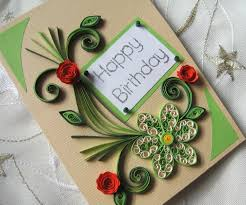 beautiful floral themed handmade quilling happy birthday card for