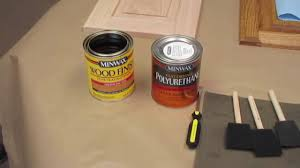 How To Stain Unfinished Cabinets by How To Stain Replacement Cabinet Doors Youtube