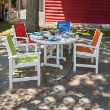 polywood coastal 5 pc vibrant dining set