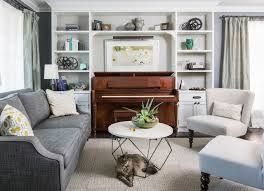 piano in living room clean crisp contemporary transitional family room toronto