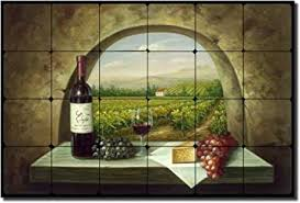 vineyard view tuscan vineyard tumbled marble tile mural 16