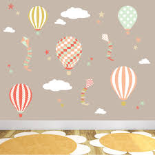hot air balloons kites clouds and star nursery wall art stickers hot air balloons and kites wall stickers coral mint nursery previous