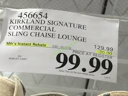 Costco Chaise Lounge Kirkland Signature Commercial Sling Chaise Lounge U2013 Costcochaser