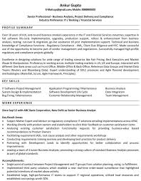 exle of business analyst resume business analyst resume sles sle resume for business