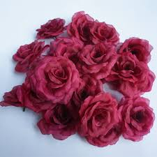 burgundy roses 8cm burgundy flower for wedding decoration artificial silk