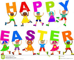 kids with happy easter text clipart