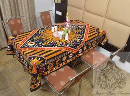 Coffee Table Cover by Indian Cotton Table Cloth Multicolored Sun Moon Print Table Cover