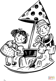 kids boy and playing on the playground coloring page free